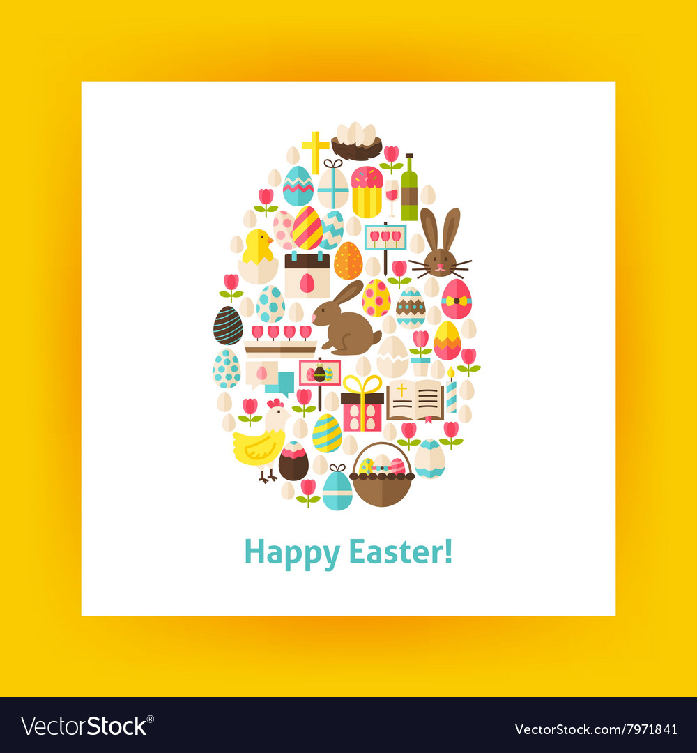 Flat egg shaped set of happy easter objects over vector
