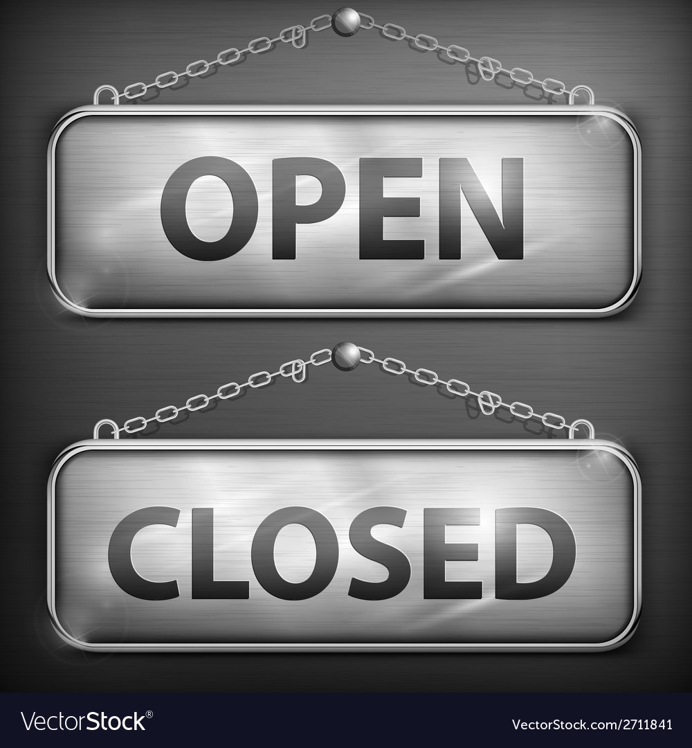 Iron sign hanging open closed vector