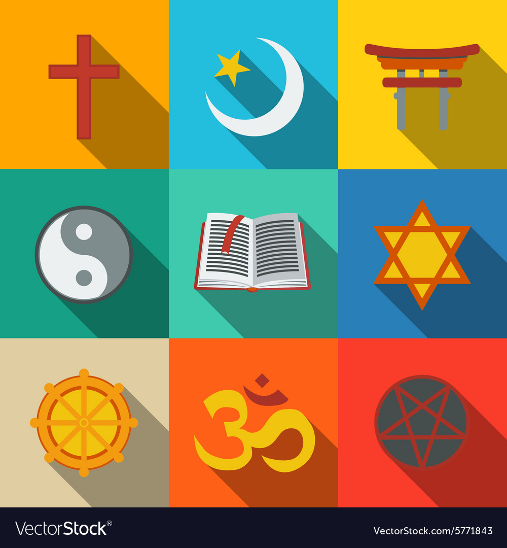 World religion symbols flat set  christian vector