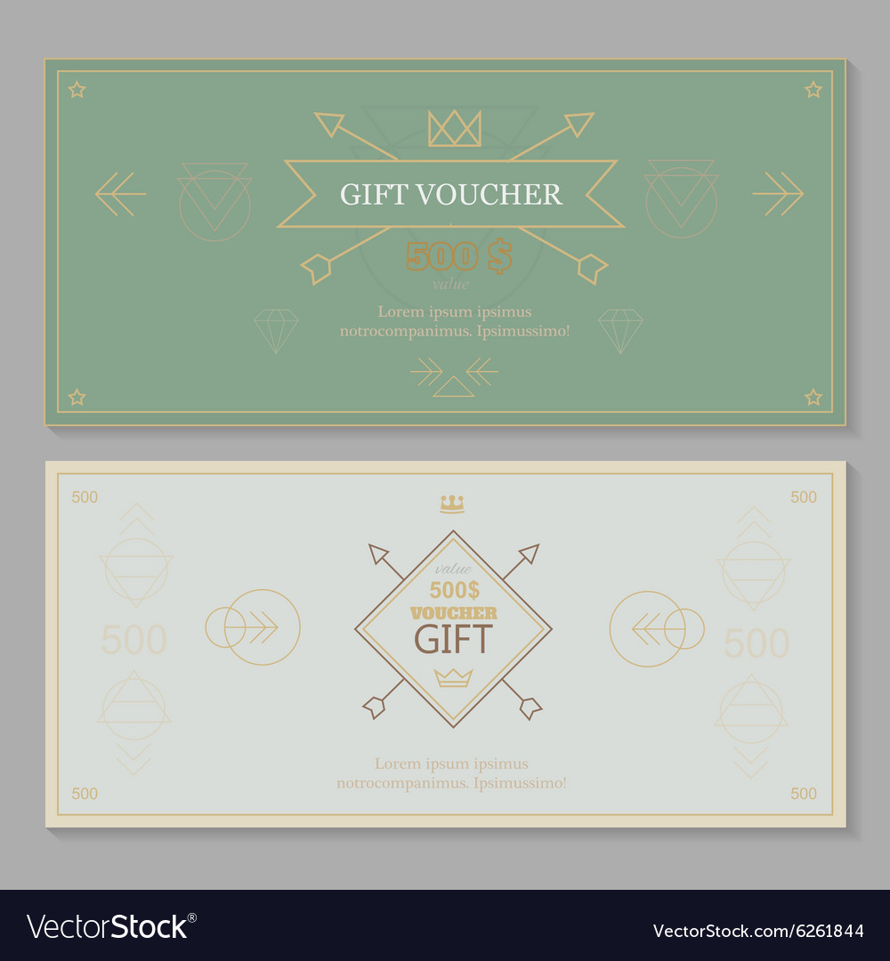 Gift certificate voucher coupon template hipster vector