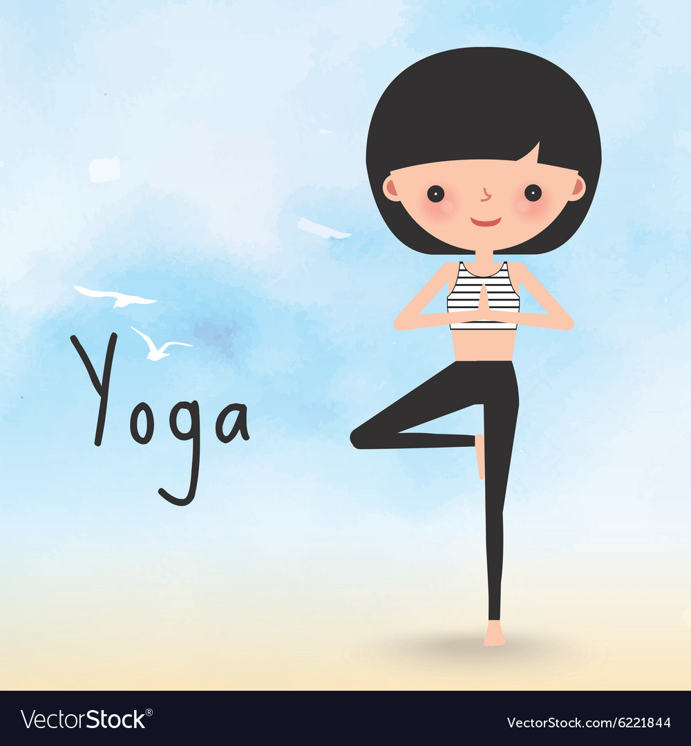 Yoga woman on the beach cartoon vector