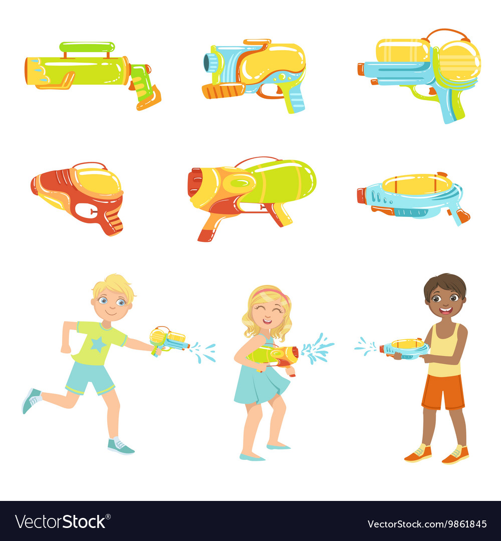 Kids playing with water pistols and different vector
