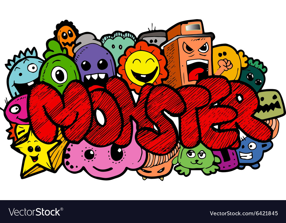 Monster cartoon handdrawn doodle vector