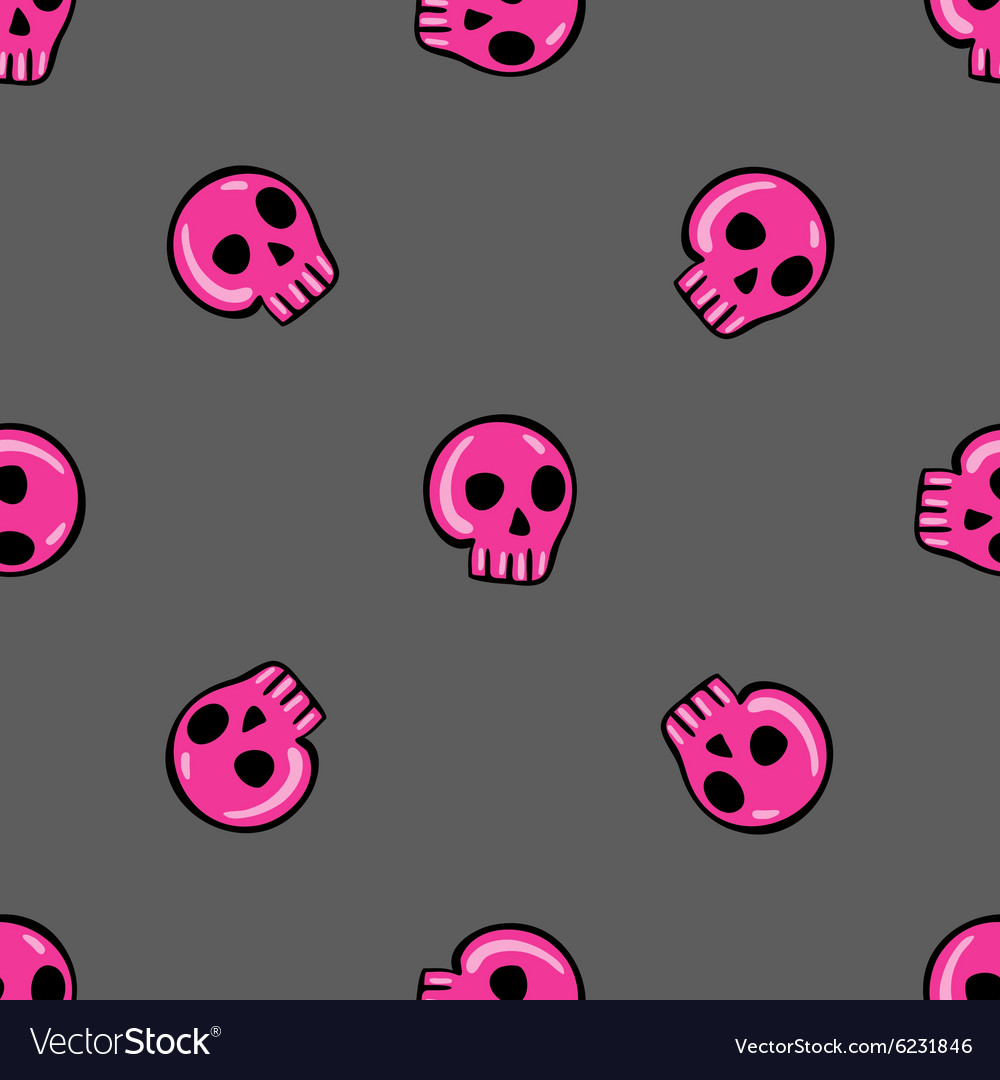 Doodle seamless pattern with skull  3 vector