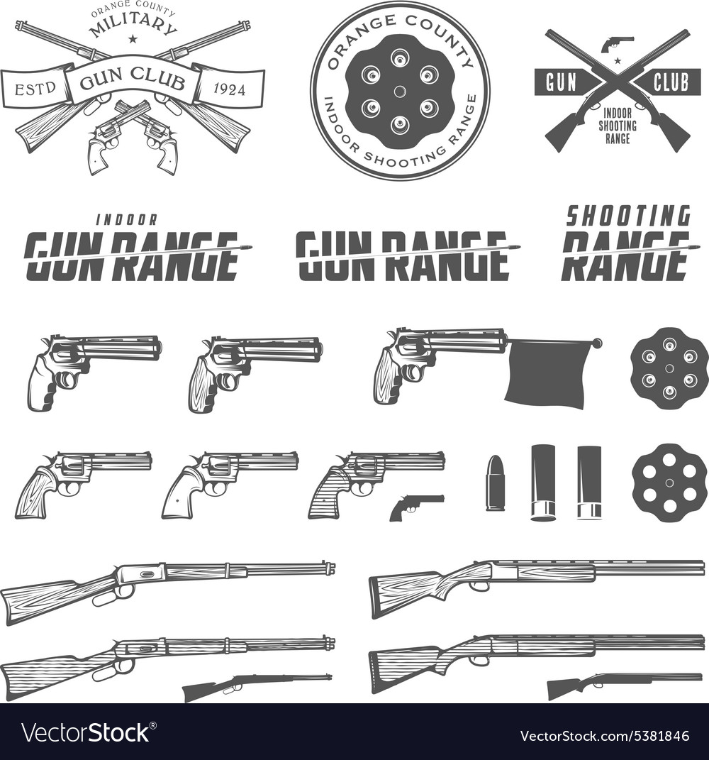 Weapons labels emblems and design elements vector