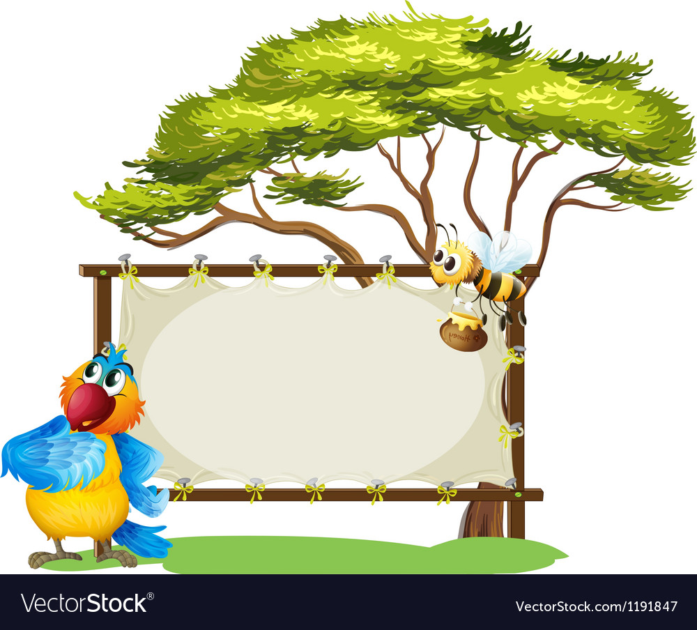 A parrot and a bee near an empty signage vector