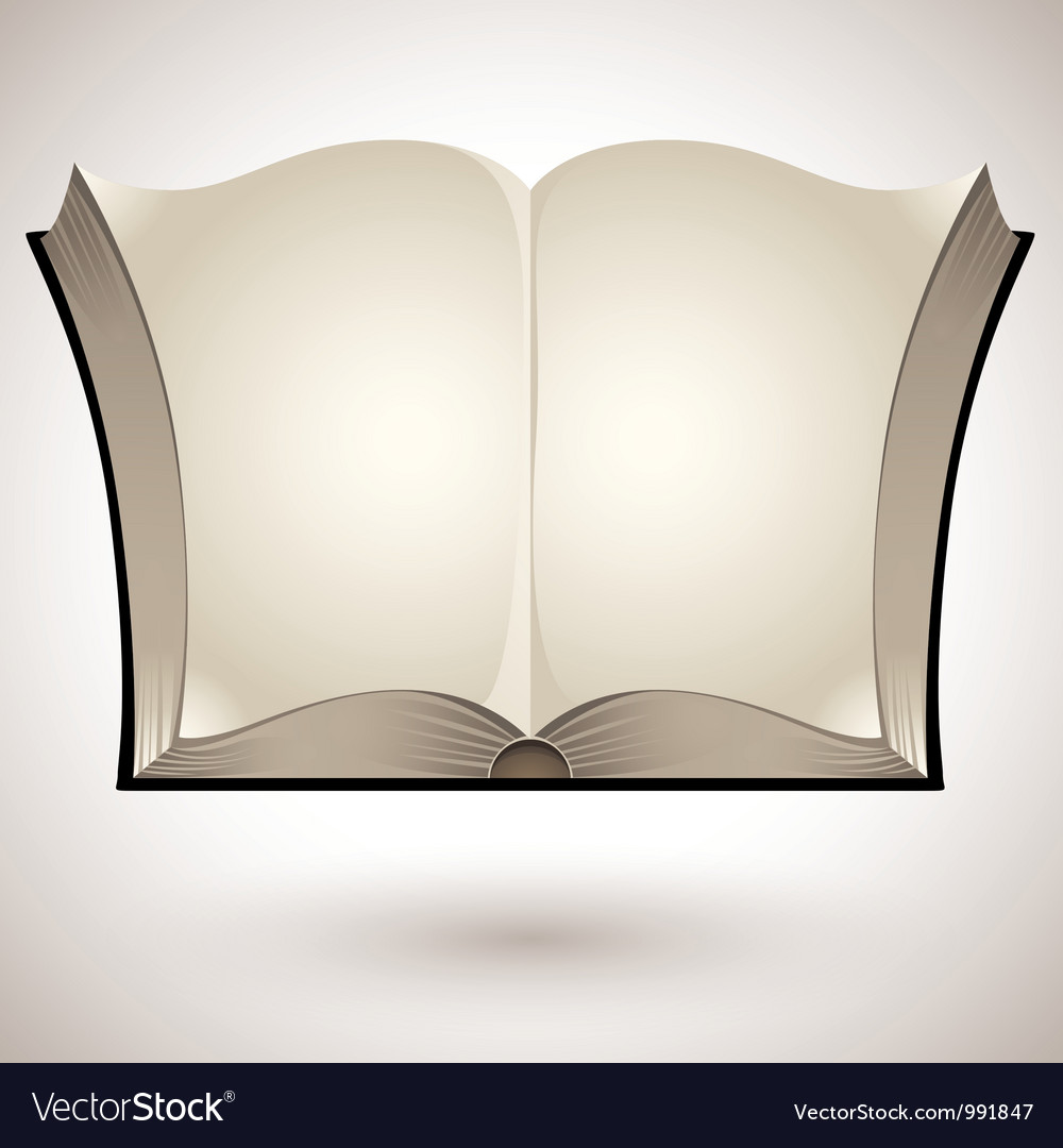 Open book with blank pages vector
