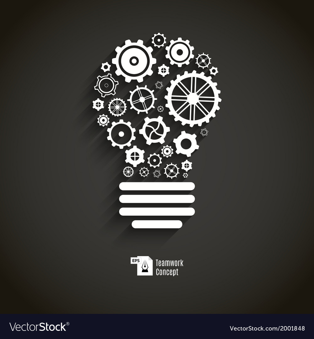 Bulb with gears and cogs vector