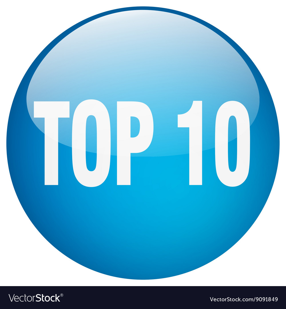 Top 10 blue round gel isolated push button vector