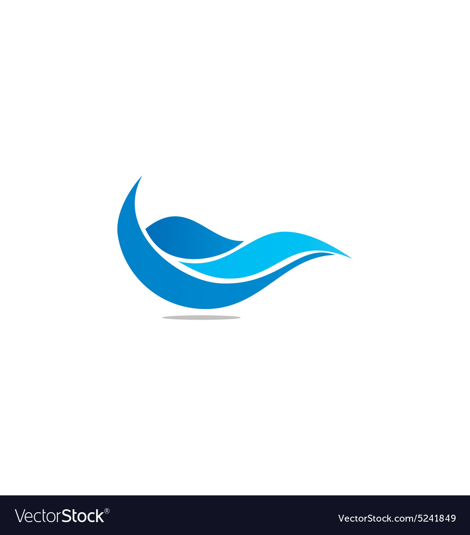 Water abstract wave blue logo vector