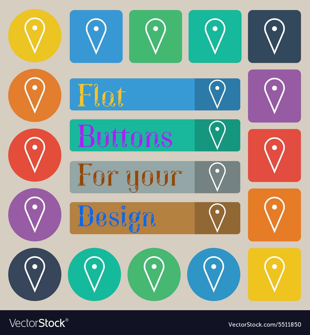Map poiner icon sign set of twenty colored flat vector