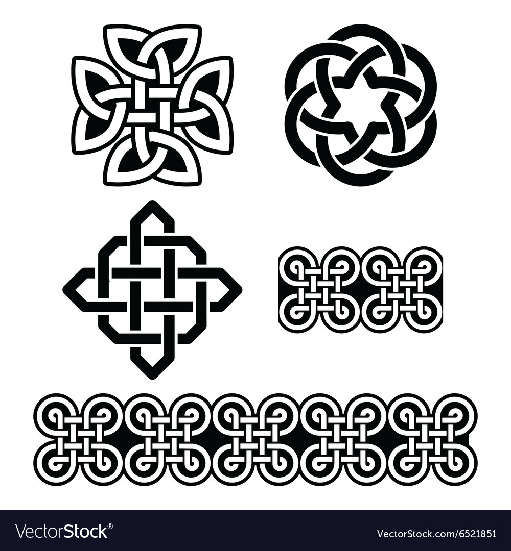 Celtic irish patterns and knots st patricks day vector