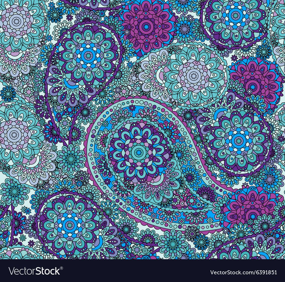 Seamless oriental pattern colorful paisley vector