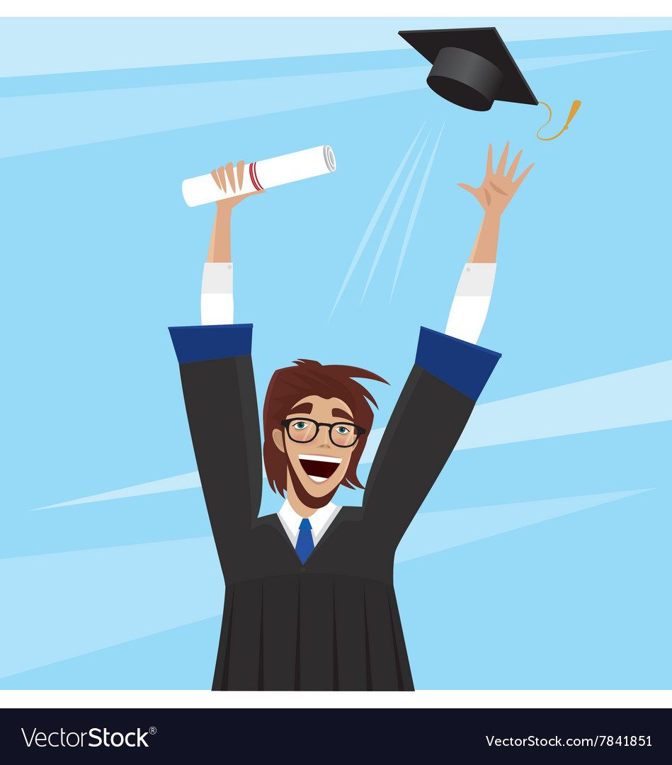 Student enjoys graduation vector