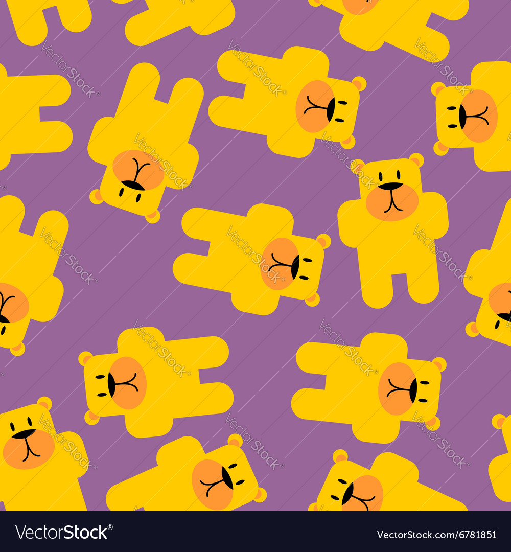 Yellow bear mamey seamless pattern yellow bear in vector