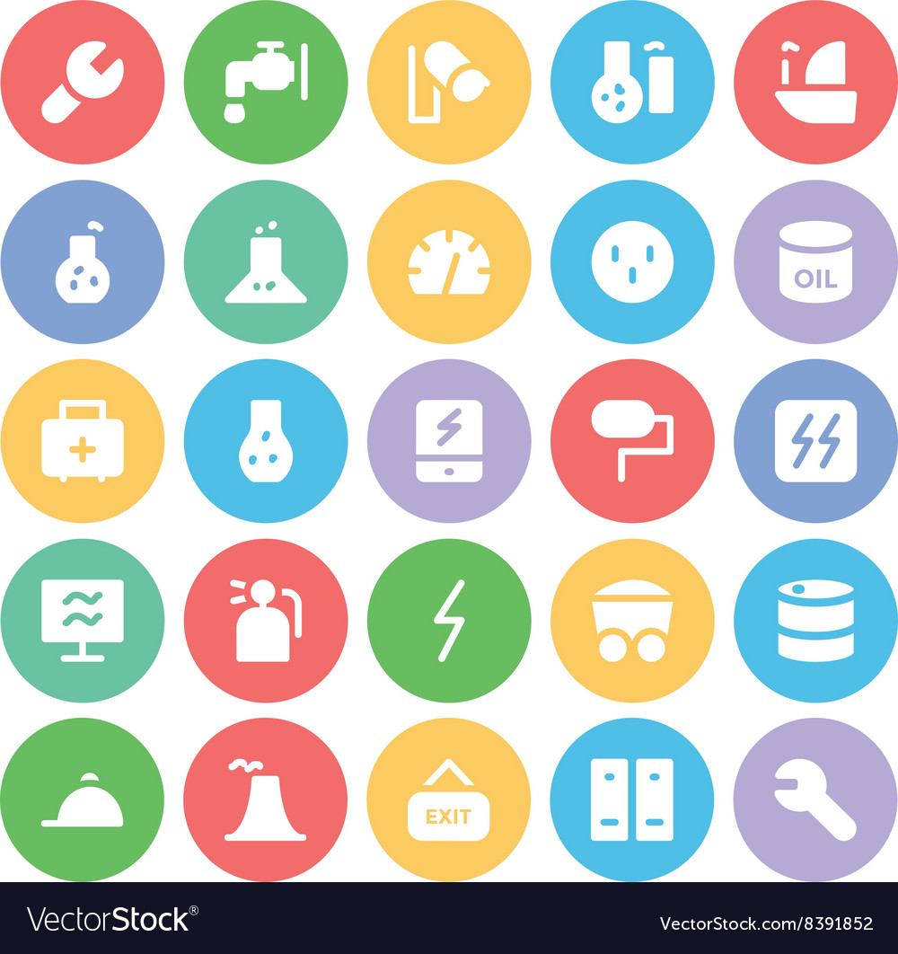 Industrial colored icons 1 vector