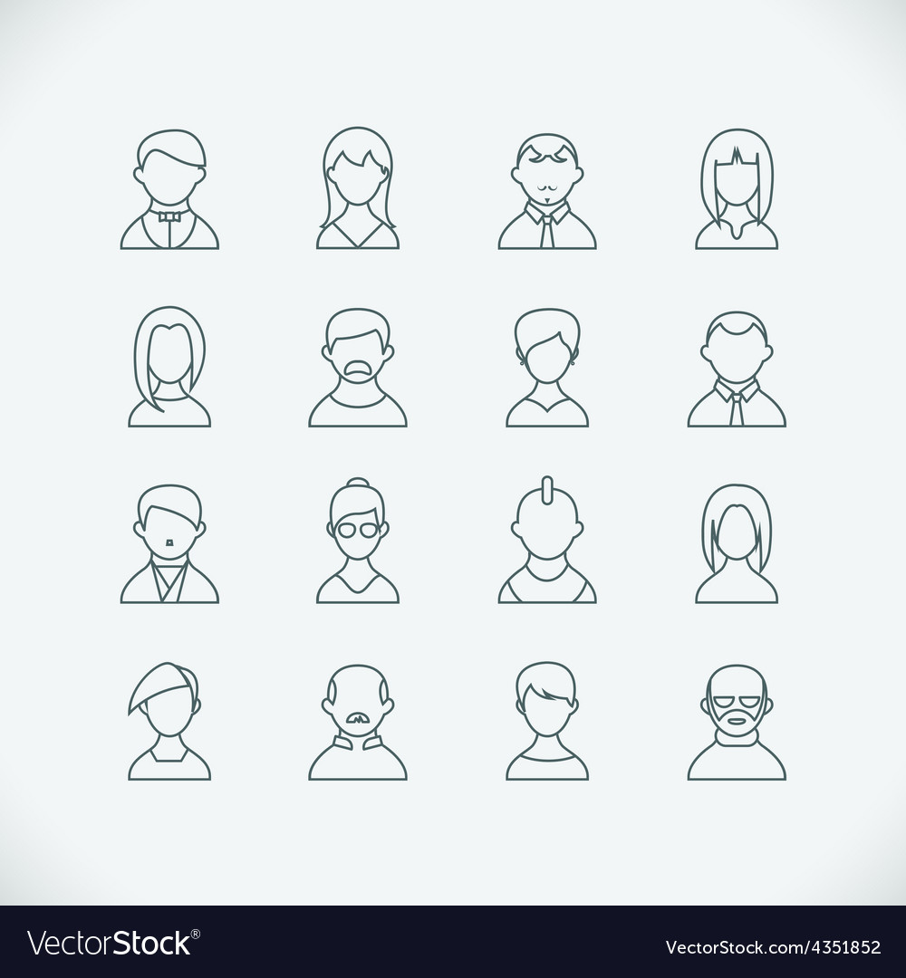 Thin line people icons vector