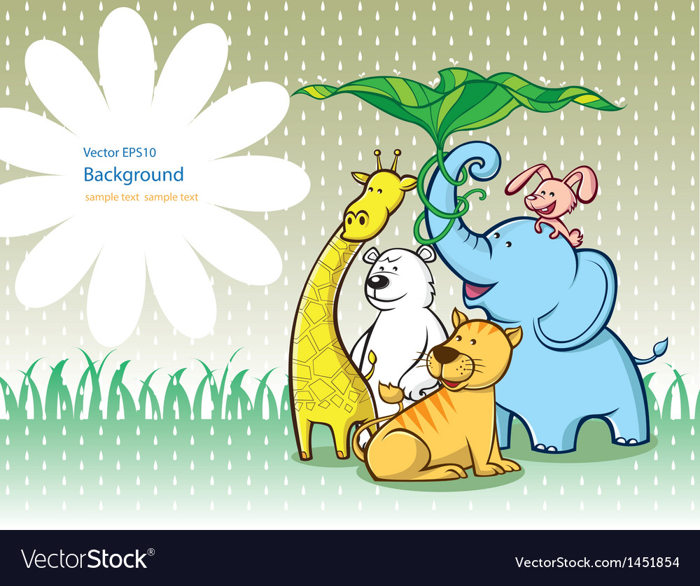 Animals under a lotus leaf vector