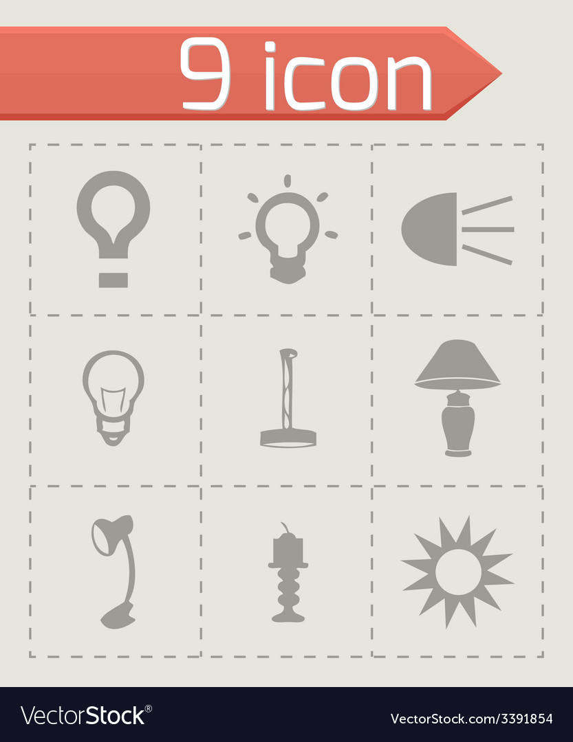 Light icons set vector