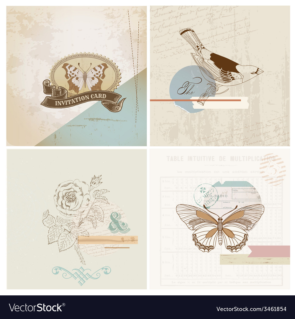 Scrapbook design elements  vintage paper set vector