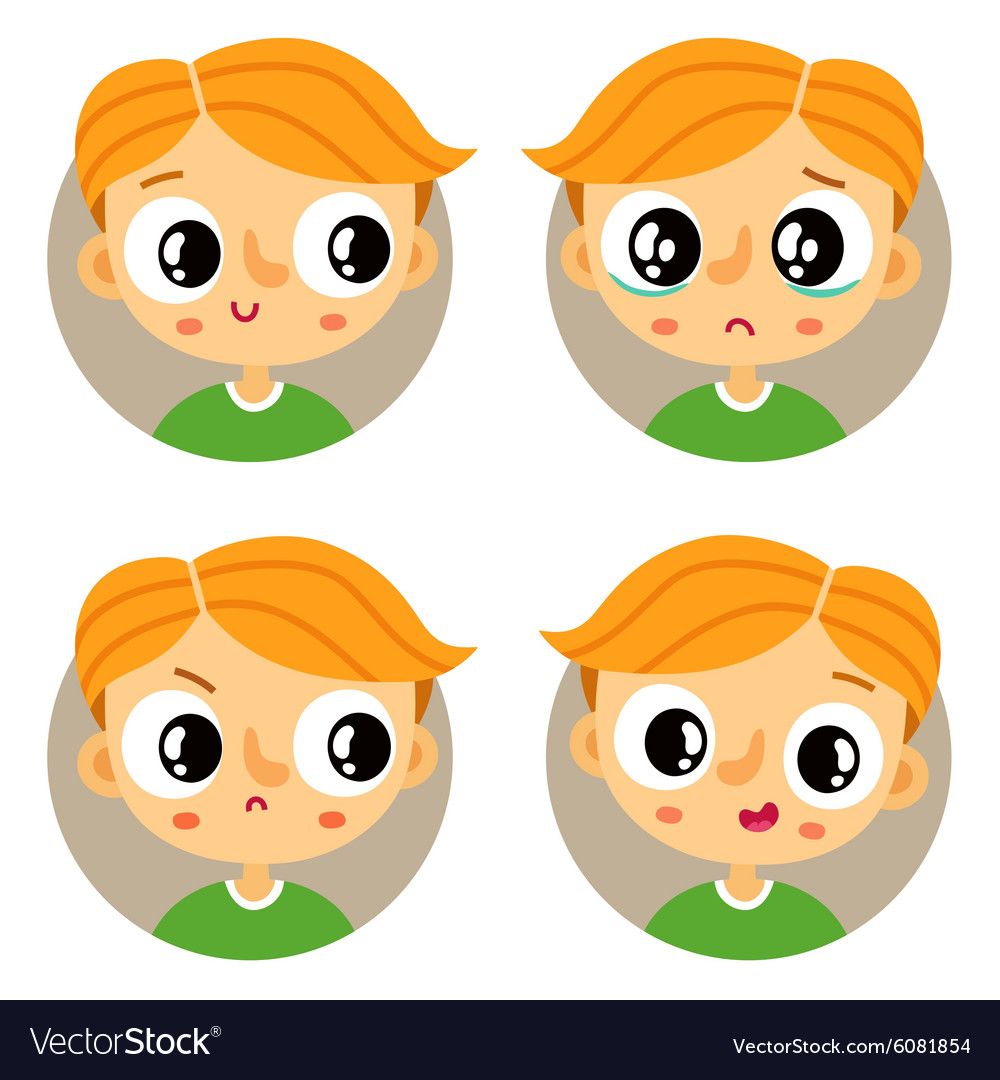 Set of four young boy emotions vector