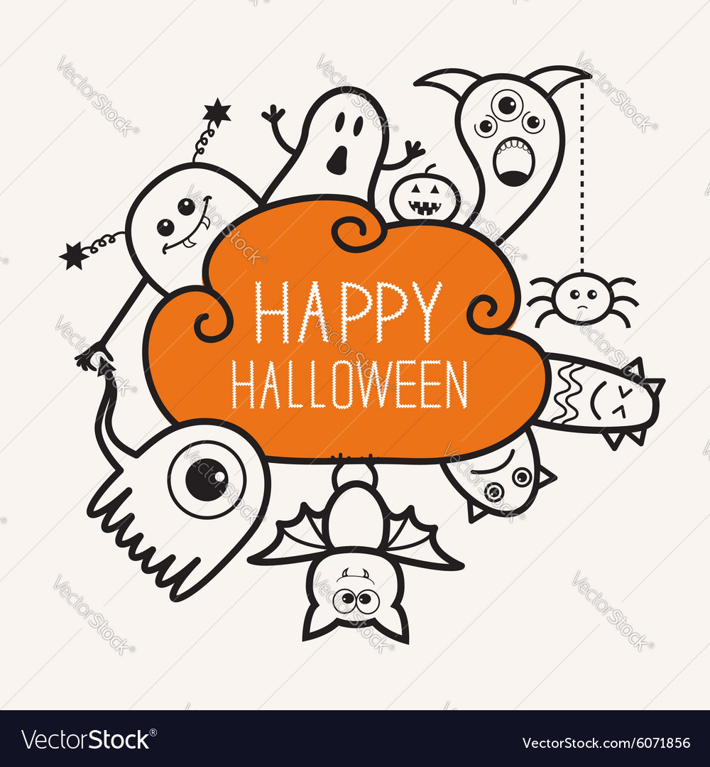 Happy halloween contour outline doodle ghost bat vector