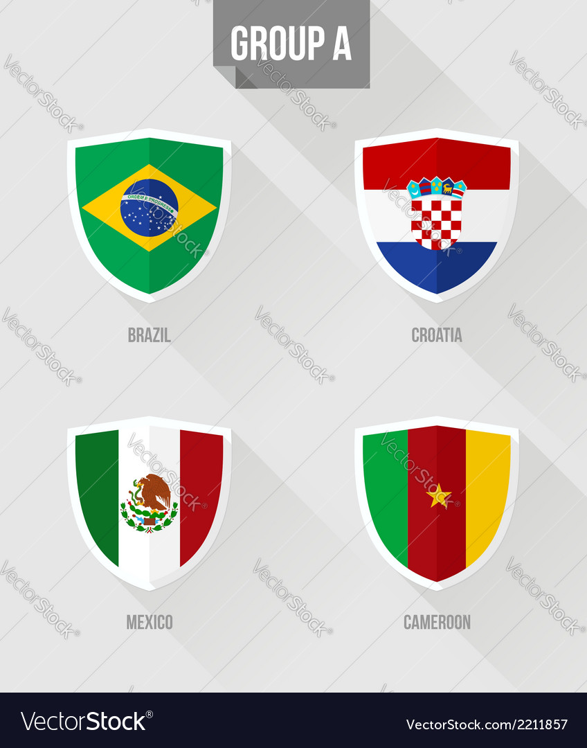 Brazil soccer championship 2014 group a flags vector