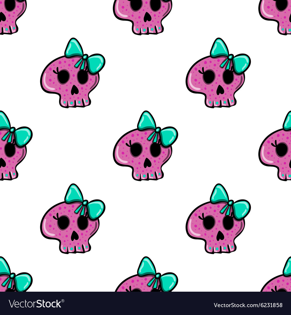 Doodle seamless pattern with skull  4 vector