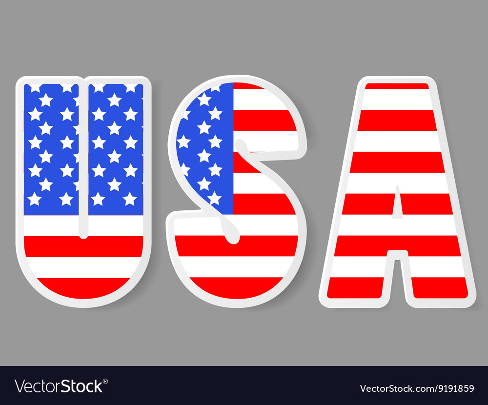 Usa letters with flag background vector