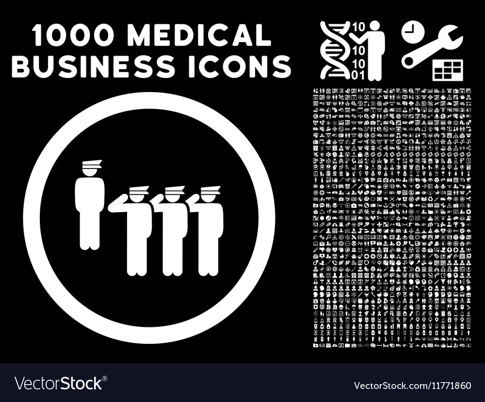 Army squad rounded icon with medical bonus vector