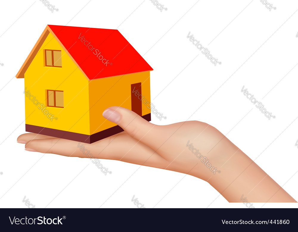 Hand with house vector