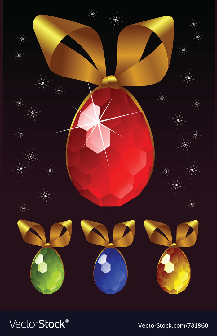 Jewel egg with golden bow vector