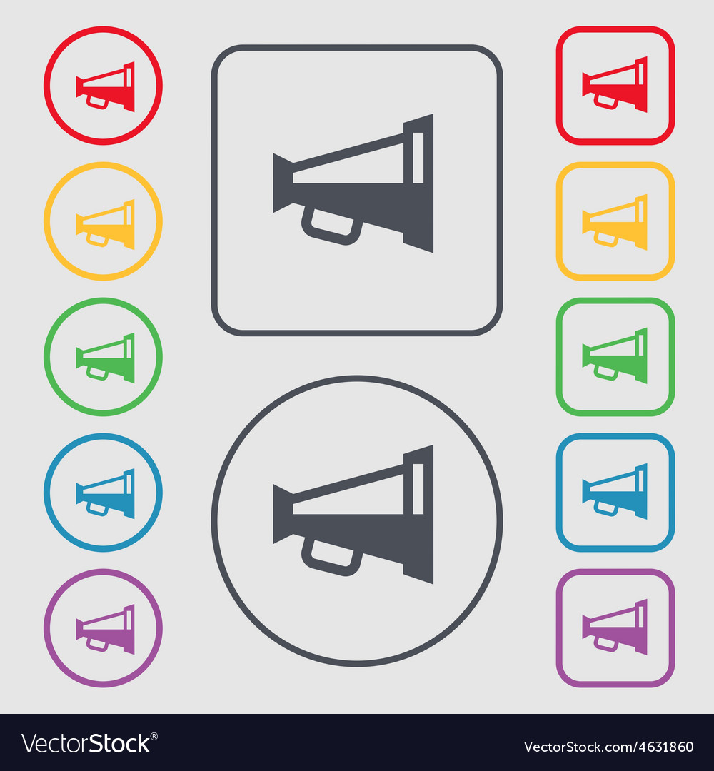 Megaphone soon loudspeaker icon sign symbol on the vector