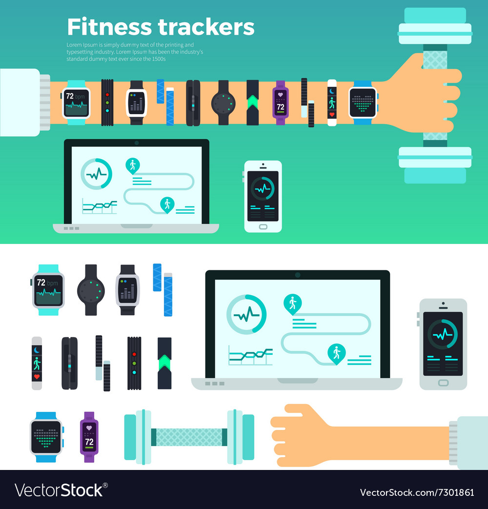 Fitness trackers virtual coach gadgets vector