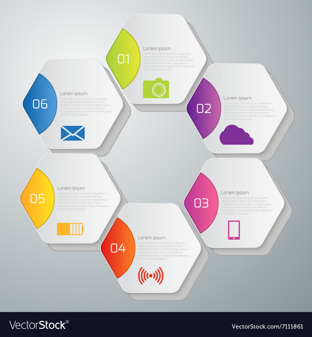 Infographics hexagons vector
