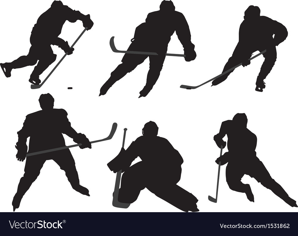 Ice hockey player silhouette vector