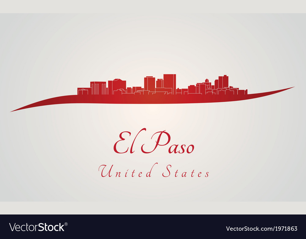 El paso skyline in red vector