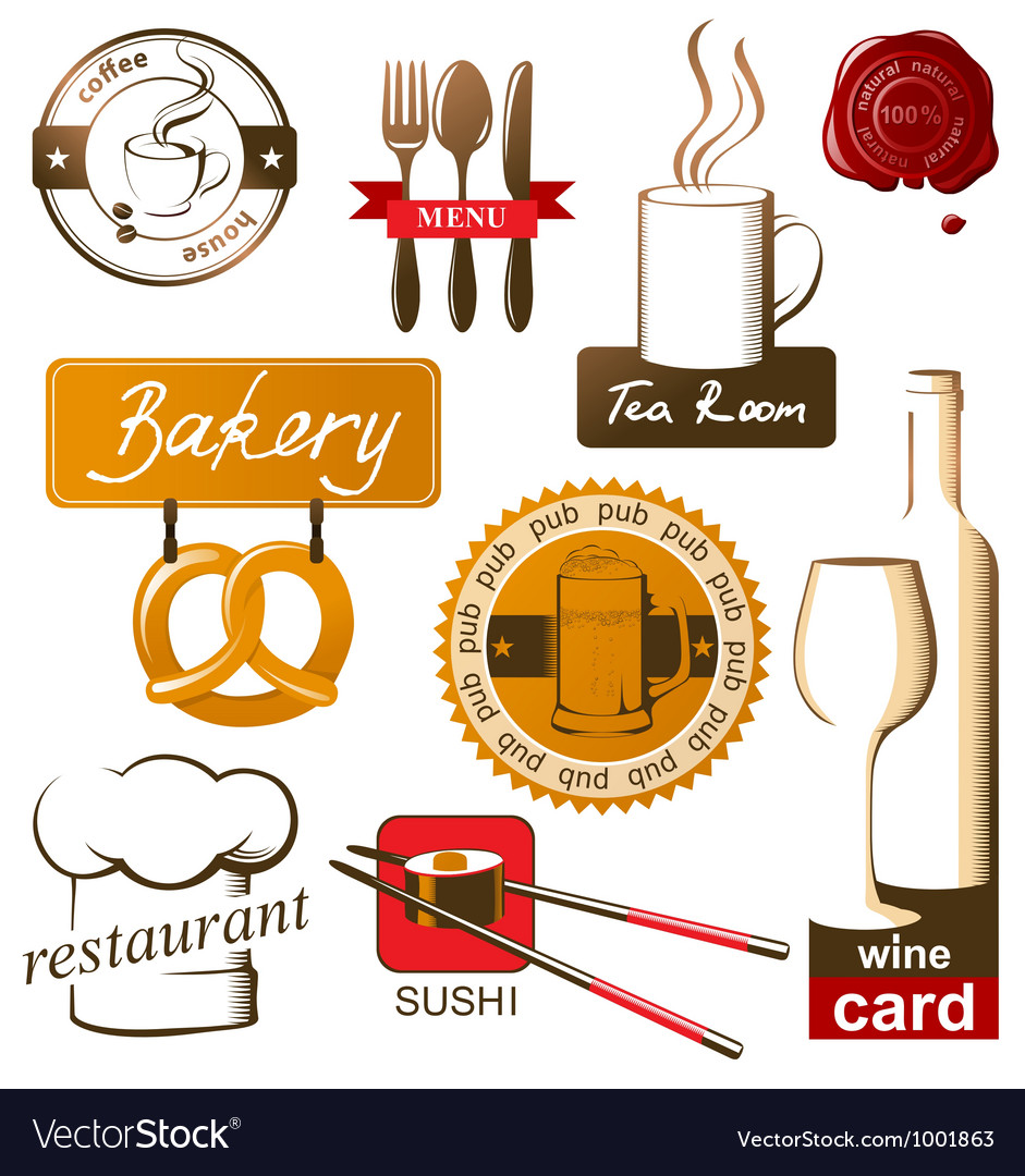 Food and drink logos vector