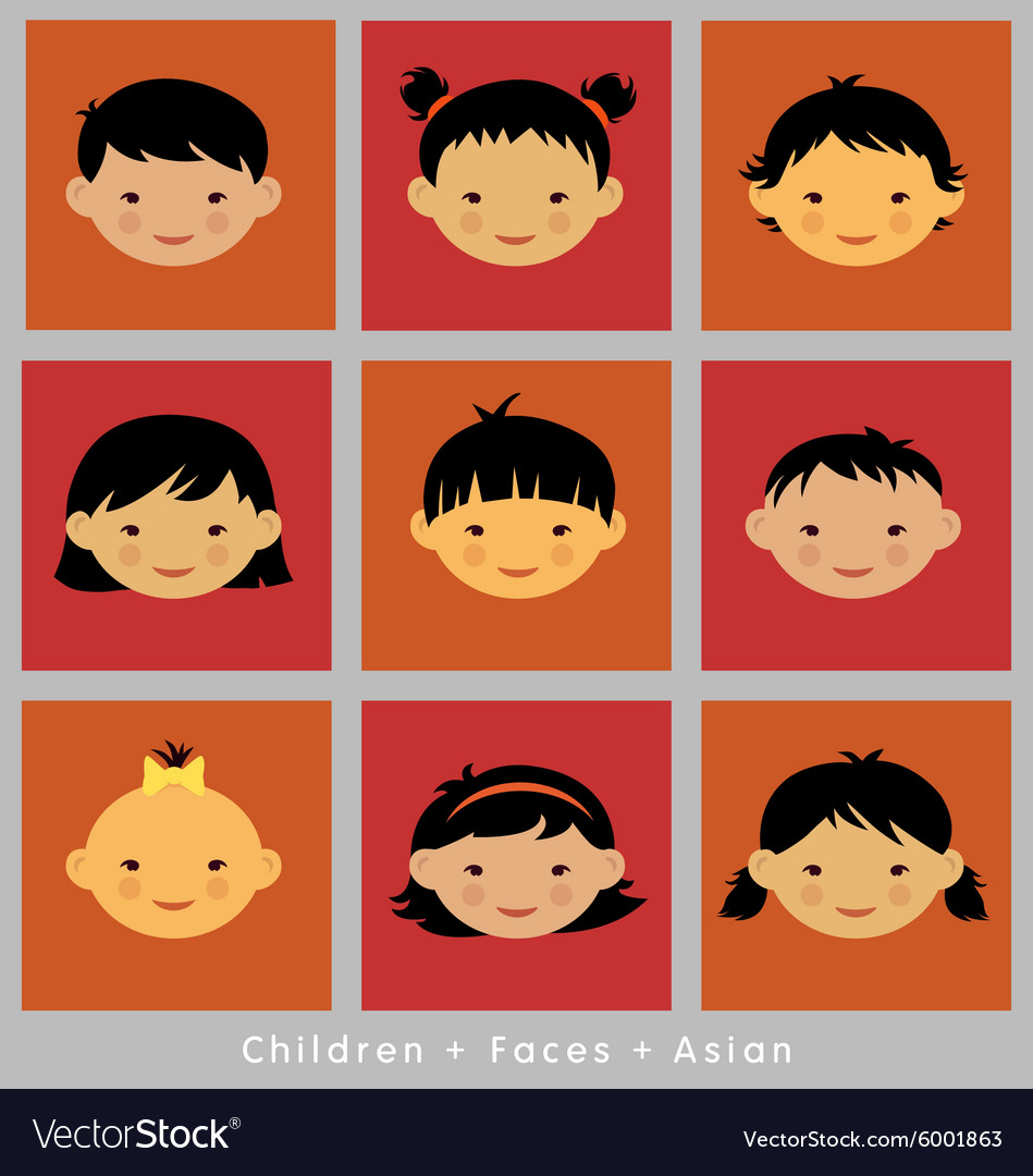 Set cute faces asian children flat style vector