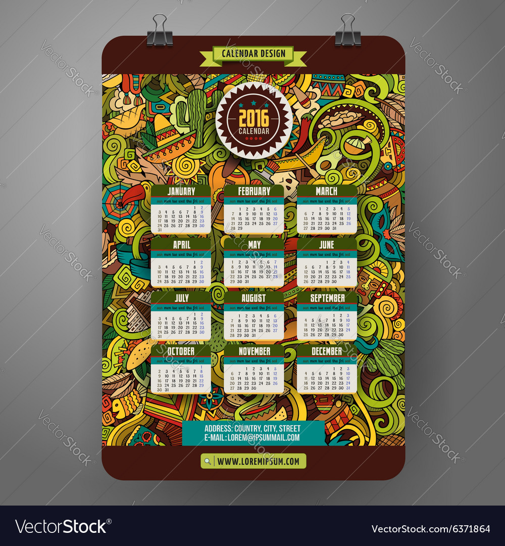 Doodles cartoon latin american calendar 2016 year vector
