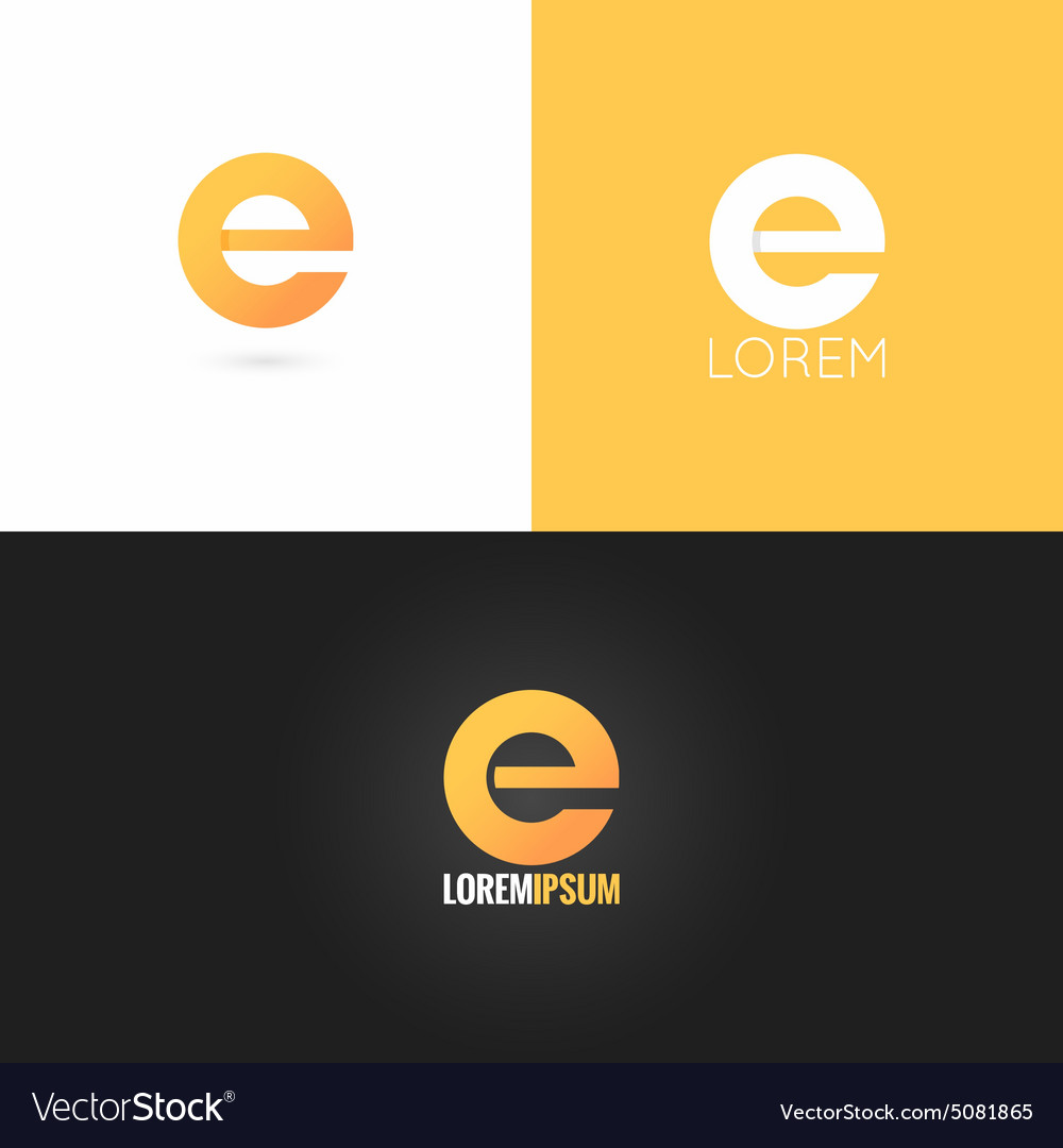 Letter e logo design icon set background vector