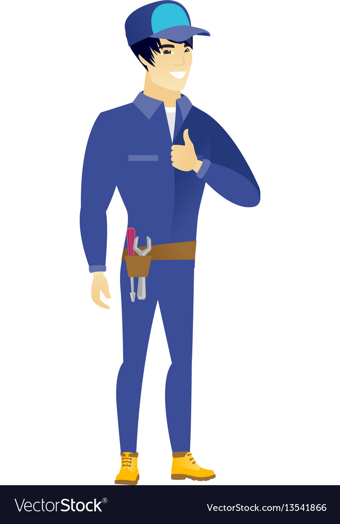 Mechanic giving thumb up vector