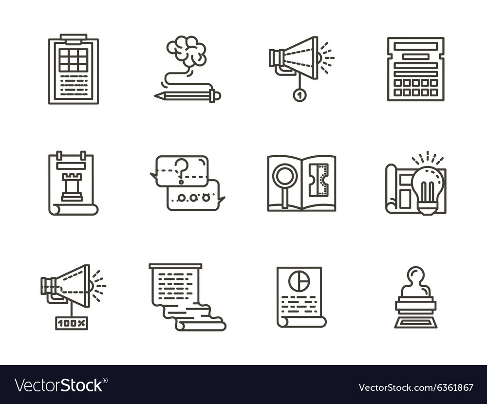 Smm flat line icons collection vector