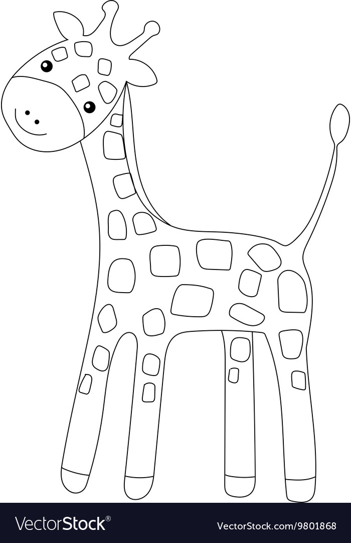 Coloring page little cute giraffe isolated on vector