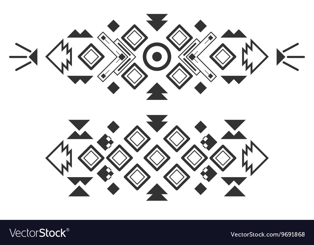Tribal elements ethnic collection aztec vector