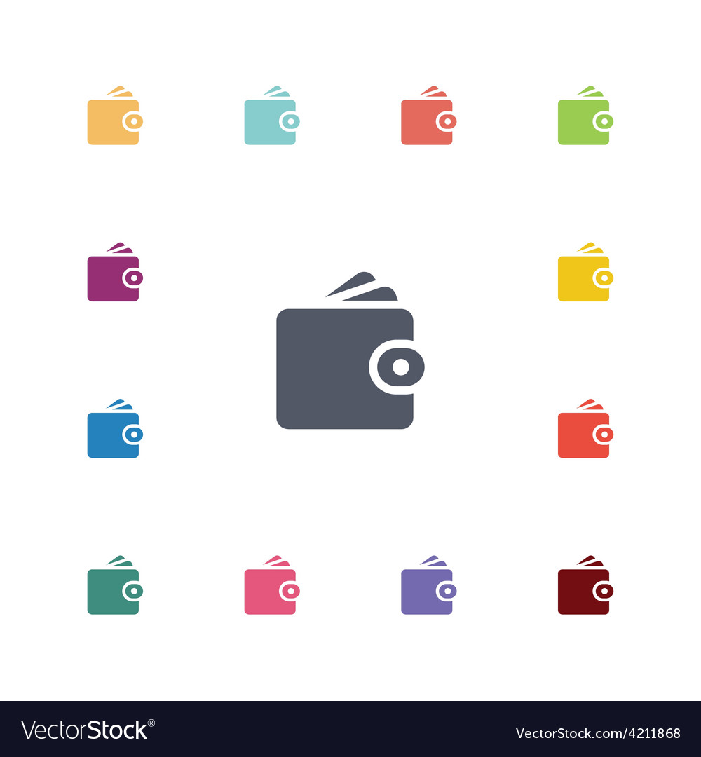 Wallet flat icons set vector