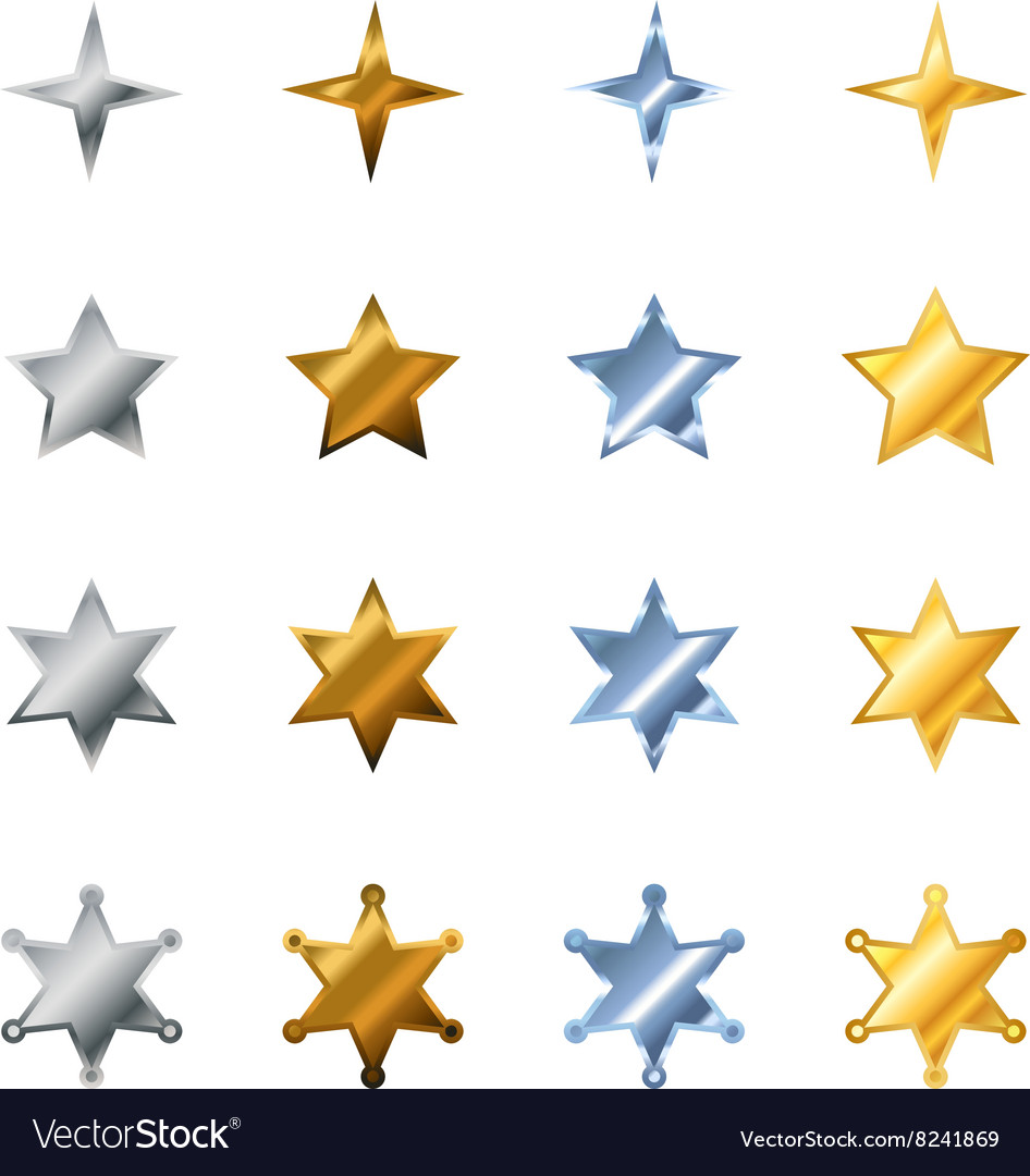 Different stars made from steel bronze silver vector