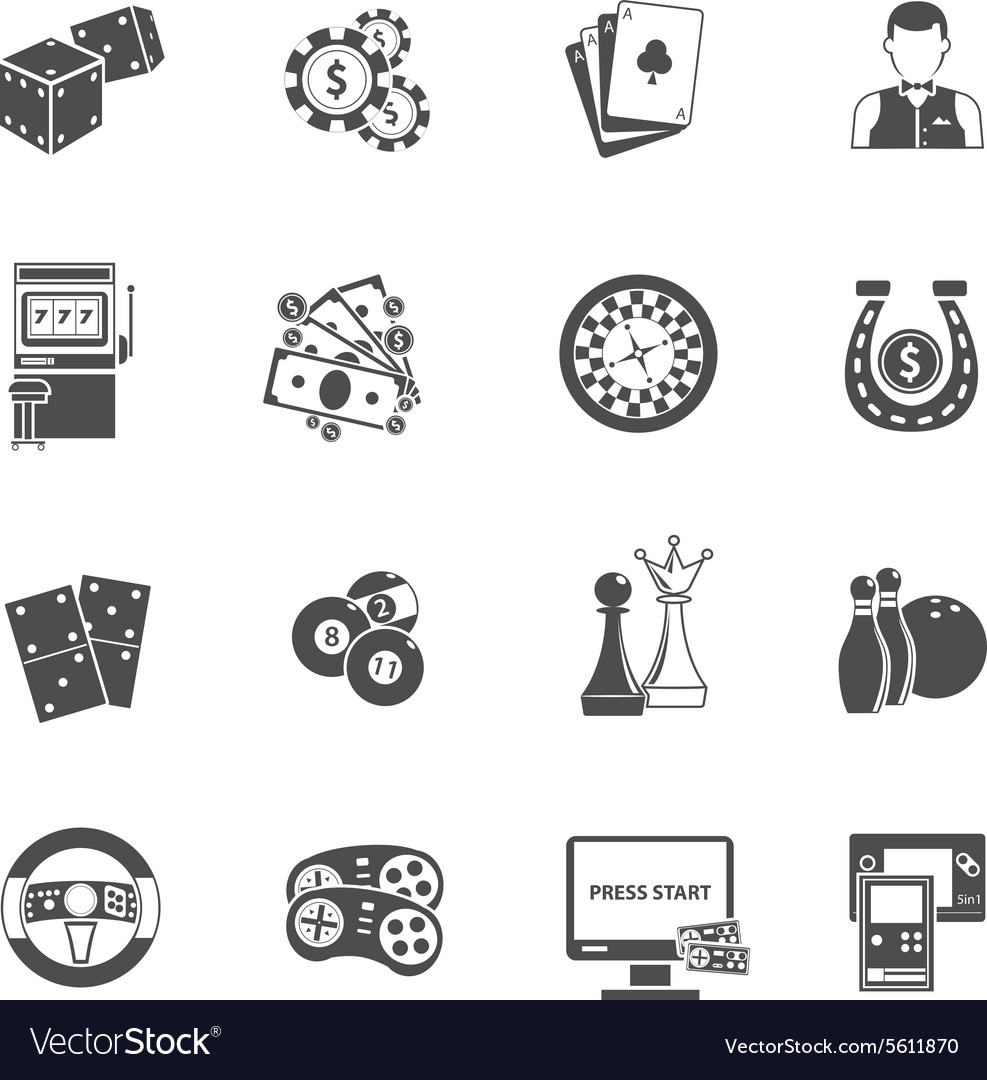 Casino gambling games black icons set vector