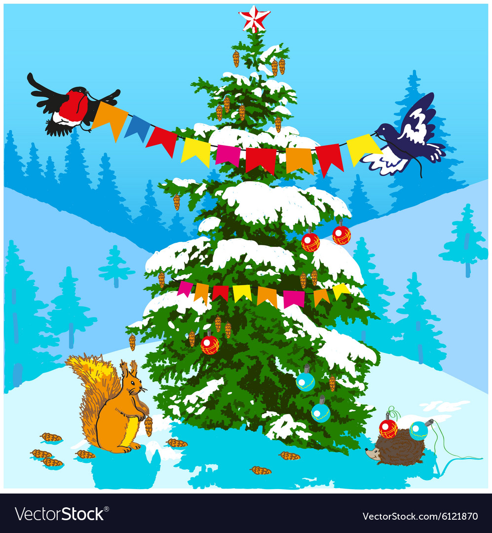Christmas tree and animals vector