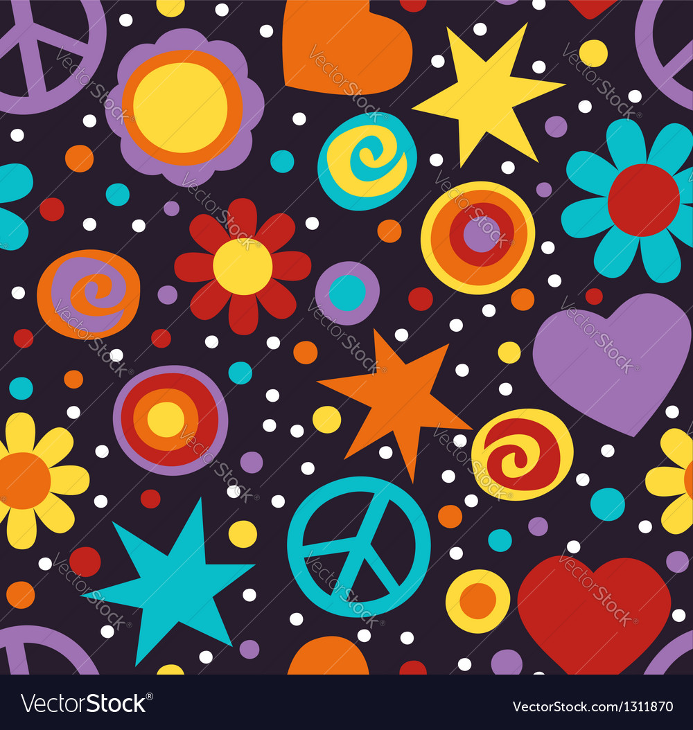 Hippie pattern vector